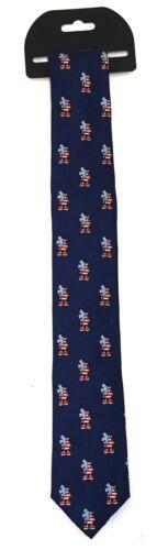 New Disney Parks Navy Blue Mickey Mouse Americana USA Flag Silk Skinny Tie