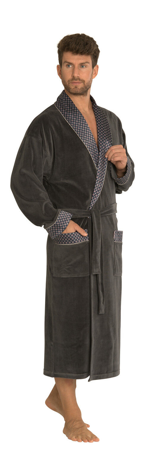Mens Classic Cotton Bathrobe Lounge Wear Dressing Gown Long Length ...