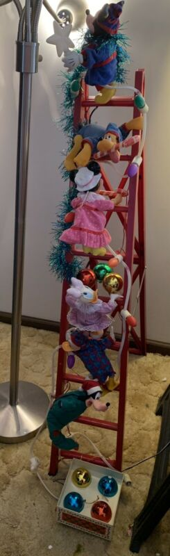 Mr Christmas Disney Mickey Tree Trimmers Characters Ladder Vintage 4FT Works
