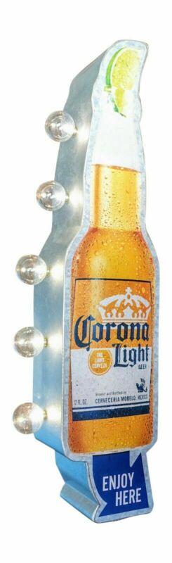 Corona Light Beer Cerveza Bar Double Sided Metal Sign LED Lighted Light Bulbs