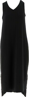 Any Body Loungewear Cozy Knit Maxi Tank Dress Pockets V Neck Black L NEW A286595