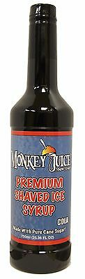 Cola Snow Cone Syrup - Made With Pure Cane Sugar - Monkey Juice Brand