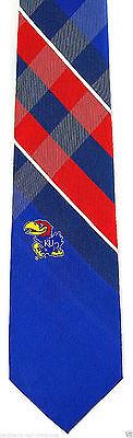 Kansas Jayhawks Men's Necktie College University Logo Gift Plaid Blue Neck Tie - Kansas Jayhawks Necktie