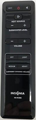 Original New Insignia Ns Rcsb0 Remote For Home Theater Sound Bar Speaker System