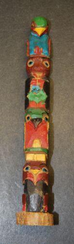 Vintage NW Coast wood carved Totem, Bear, Owl, Bird effigy