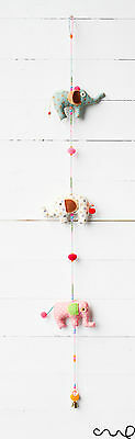 NEW Handmade Cute 3 Elephants Hanging Decoration Mobile Party Pompom Beads C - Elephant Party Mobile
