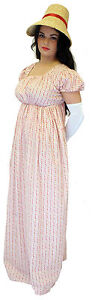 Jane-Austin-GEORGIAN-REGENCY-LADIES-FLORAL-DAY-DRESS-outfit-sizes-8-PLUS