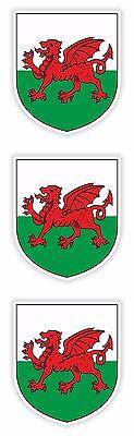 Wales Stickers 3x Coat of Arms for Tablet PC Locker Helmet Hard Hat Door Fridge