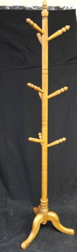 1960s Cherry Wood Hat Tree Features 9 Hooks