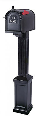 Mailbox with Post Large Black Classic Newport Craftsman Style Rust Proof Durable ()