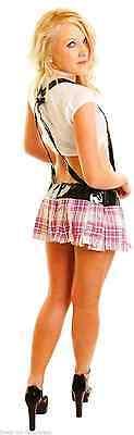Sexy School Tease Girl Tie Top, Tartan Skirt, PVC Braces Fancy Dress 8 10 - Tease Sexy Kostüm