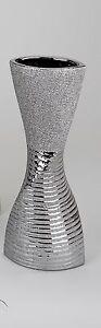 Moderne Deko Vase Blumenvase aus Keramik silber mit Streifen Höhe 32 cm