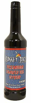 Cherry Snow Cone Syrup - Made With Pure Cane Sugar - Monkey Juice Brand