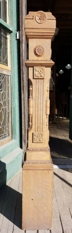 NICE VICTORIAN EASTLAKE NEWEL POST WITH CARVED FLOWERS