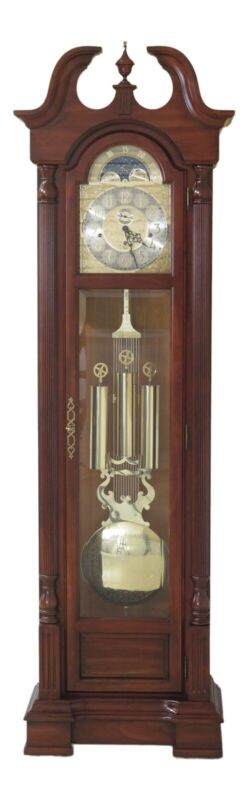 48335EC: SLIGH Cherry Grandfather Hall Clock w. Beveled Glass