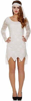 Damen ägyptisch Mumie Zombie Halloween Horror Kostüm Kleid Outfit 8-10-12