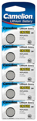 5 Stk Camelion 3V - CR1632 Knopfzellen Uhrenbatterien Knopf Zellen MHD 10-2025 ()