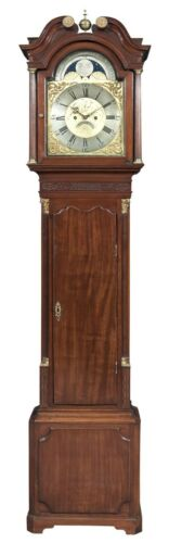 18th C. Chippendale Mahogany Tall Case Clock Grandfather Clock by William Taylor
