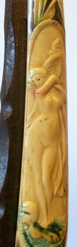 Antique Art Nouveau Straight RAZOR BLADE NUDE WOMAN Lady GERMANY