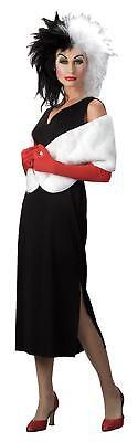Erwachsene Disney 101 Dalmatiner Bösewicht Cruella De Vil 4 Teile Kostüm Perücke