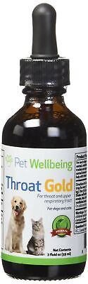 Pet Wellbeing Throat Gold for Dogs - Natural Herbal Cough 2 Fl Ounces NEW SEALED