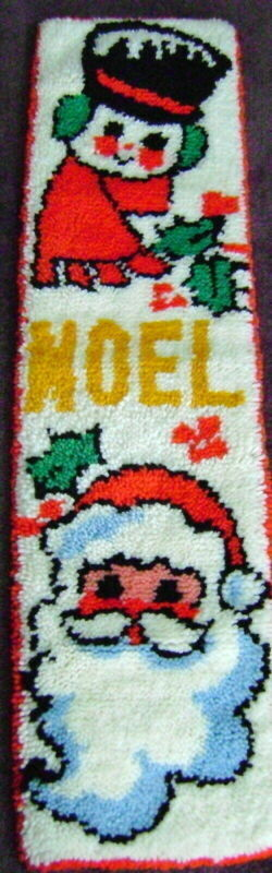 Bucilla Rug Latch Hook Wall Hanging Banner Noel Santa Snowman Christmas DONE VTG