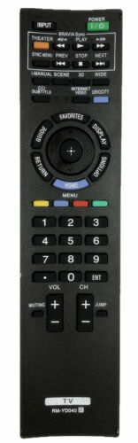 New Replacement Remote For Sony Tv Rm-yd040 Remote Control Rmyd040