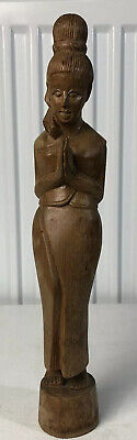 Beautiful Vintage Indian Hand Carved Wooden Figurine Of A Woman