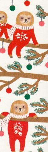 Christmas Sloths (each different) decorative paper,  laminated bookmark