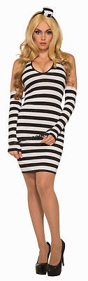 Inmate Costume Womens (Lock Her Up Prisoner Inmate Covict Adult Womens Costume Dress NEW Black)