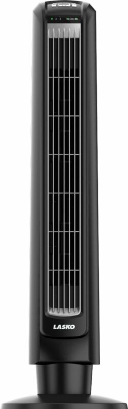 Lasko - Oscillating Tower Fan with Remote Control - Black and Silver