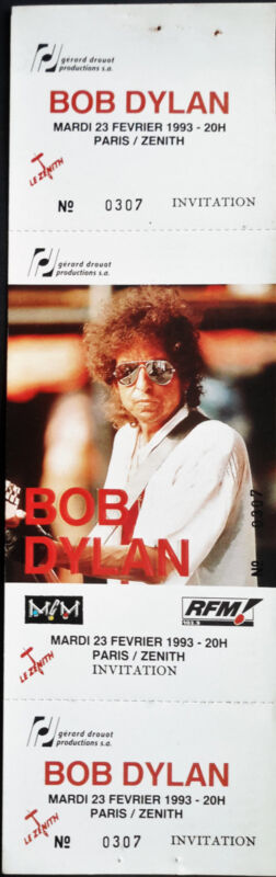 * BOB DYLAN *  FULL & UNUSED COMPLIMENTARY CONCERT TICKET - 1993 - PARIS, FRANCE