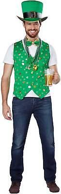 Luck of The Irish Man Vest Kit Adult Costume St Patricks Day Leprechaun S/M L/XL
