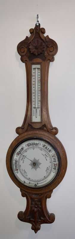 Antique  Ornate Carved Aneroid Wall Barometer & Thermometer