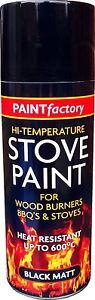 1 x 400ml Heat Resistant Matt Black Spray Paint Stove High Temperature