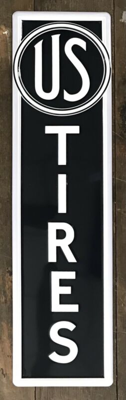 """US Tires, US Rubber Company Embossed Metal Sign, 29.5"""" x 7.5"""""""