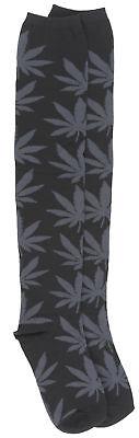 Womens HUF Plantlife Thigh High Socks Black Charcoal