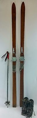 (Antique vintage, WOOD SKIS, Wall mount, Ski package with skis, poles, and boots)