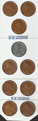 1940 S   thru  1955 S    VF / XF   LINCOLN  CENTS - YOU CHOOSE  ANY  5 DATES