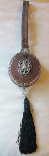 Antique Filigree Frame Victorian Silver Floral Medallion Leather Purse 1890s