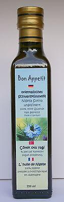 Bon Appetit 100%, egiziano Olio di cumino nero 250 ml non filtrato & 500 g Semi