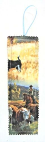 "Bookmark Fabric Book Mark 2½"" x 8"" Bookmark Cowboy Cows Horses Dogs Cattle Steer"