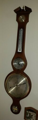 """P.F. Bollenbach Inlaid Barometer,Thermometer,11 Jewel Clock,level, & More!39.5"""""""