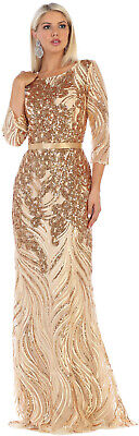 SPECIAL OCCASION 3/4 SLEEVE FORMAL DRESS MOTHER OF THE BRIDE SEQUIN EVENING GOWN Mother Of Bride Formal Dresses