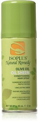 - Isoplus Natural Remedy Olive Oil, Oil Sheen Conditioning Hair Spray, 2 oz