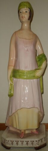 """BIG PORCELAIN CENTERPIECE STATUE 27-INCH """"GRUPPO BELL-EUROPA"""" HAND-PAINTED ITALY"""