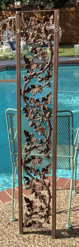 Antique Cast Iron Railing Architectural Salvage Rail  Garden Oak Leaves Acorns