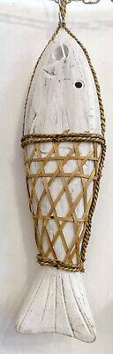 Fish Fish Decorative Wooden Anchovy Net White CM 45x11 Decoration Marine