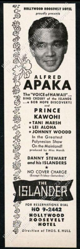 1953 Alfred Apaka photo The Islander cabaret Hollywood Roosevelt Hotel print ad