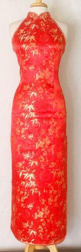 Chinese Cheongsam Qipao Dress Black with Dark Red Plum Flower